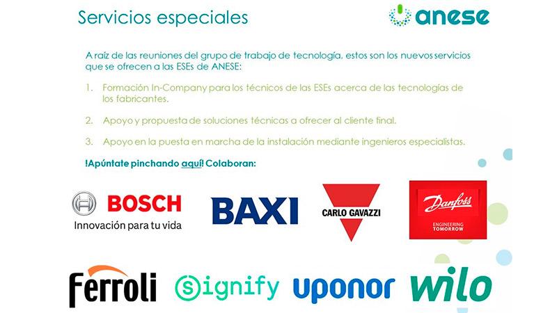 Los fabricantes de tecnología de ANESE ofrecen servicios especiales a las ESEs