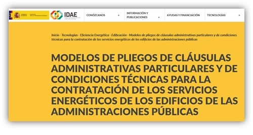 IDAE publica modelos de pliegos de contrato de servicios energéticos