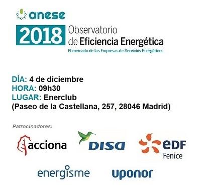 """ANESE presenta la nueva edición del """"Observatorio de Eficiencia Energética"""" que analiza la evolución del mercado de las ESEs desde 2015 a la actualidad"""