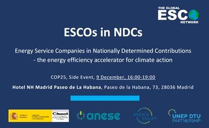 """ANESE co-organiza la jornada """"ESCOs and the Nationally Determined Contributions"""" en el marco de la programación de la COP25"""