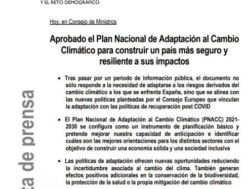 Aprobado el Plan Nacional de Adaptación al Cambio Climático para construir un país más seguro y resiliente a sus impactos