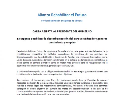 Alianza Rehabilitar el Futuro envía una carta abierta al presidente del Gobierno recordando que es urgente posibilitar la descarbonización del parque edificado y generar crecimiento y empleo