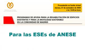 FENERCOM organiza sesión informativa sobre programas de ayuda para la rehabilitación de edificios y para la movilidad sostenible en la Comunidad de Madrid, exclusiva para los socios de ANESE