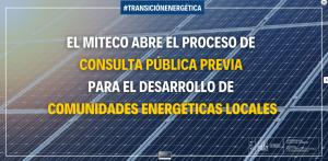 El MITECO abre el proceso de consulta pública previa para el desarrollo de Comunidades Energéticas Locales