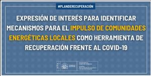 El MITECO lanza una expresión de interés para identificar mecanismos para el impulso de comunidades energéticas locales como herramienta de recuperación económica frente al COVID-19