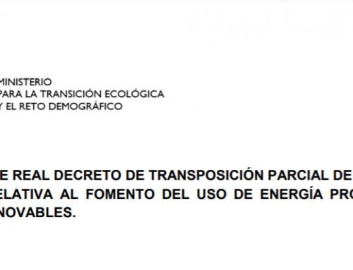 El MITECO presenta el proyecto de Real Decreto de transposición parcial de la Directiva 2018/2021 del Parlamento Europeo